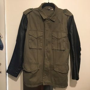 H&M Khaki Jacket with Faux Leather Sleeves